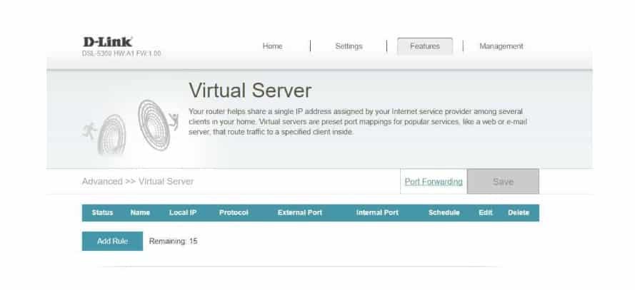 D-Link DIR-867 AC1750 virtual server
