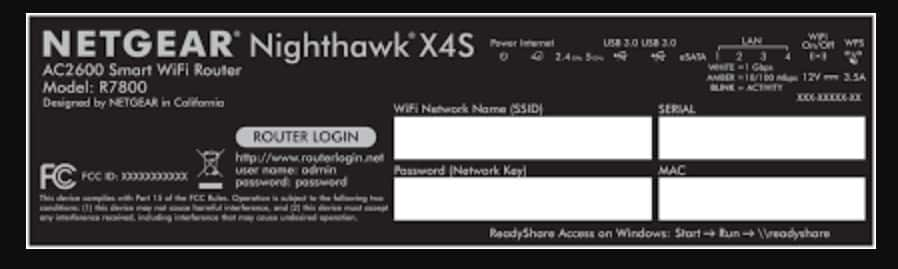 Nighthawk X4S login information